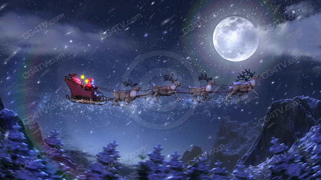 Christmas Animated Background. Santa rockets along in his magical ...