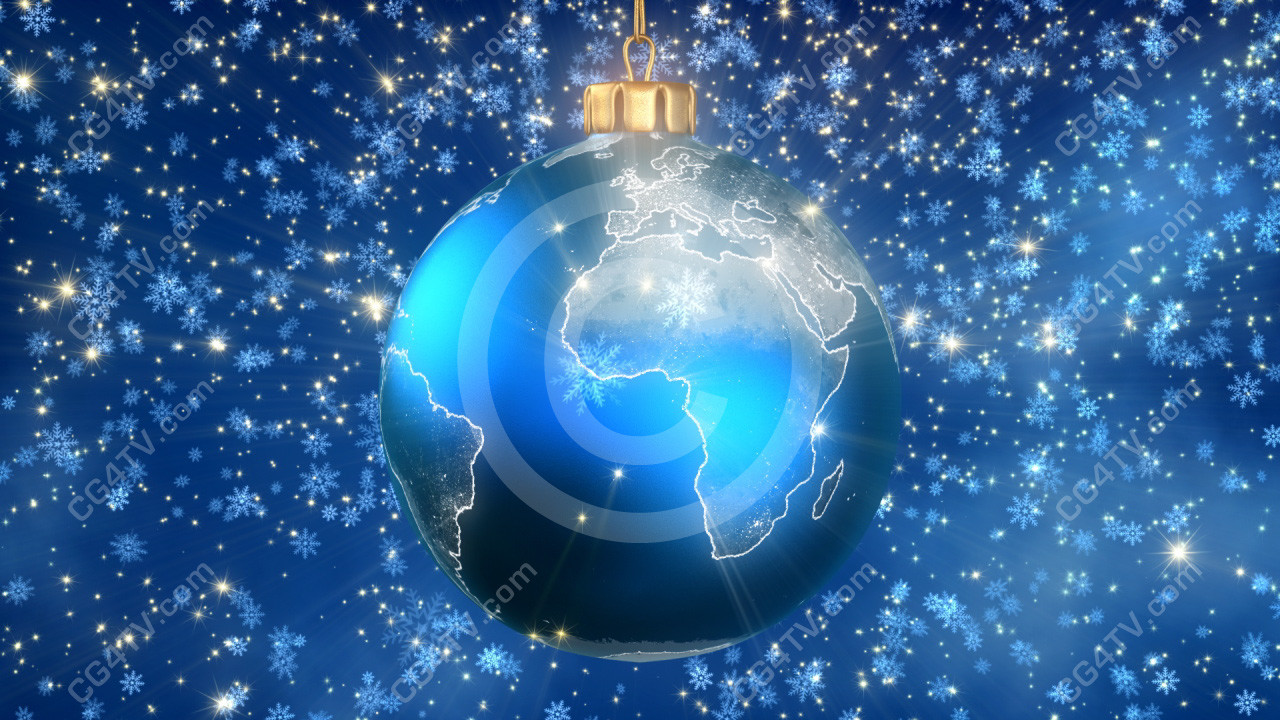 Animated christmas tree ball globe earth with slowly