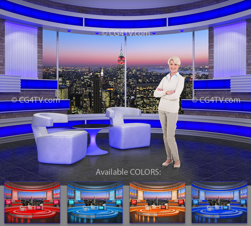 Talk Show Office Interior Design: CG4TV Virtual Sets Store