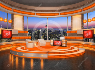 Talk Show Virtual Set Orange -- Camera 1 high resolution