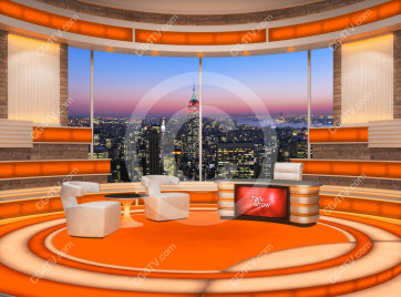 Talk Show Virtual Set Orange -- Camera 2 high resolution