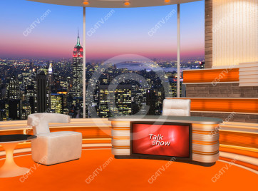Talk Show Virtual Set Orange -- Camera 3 high resolution