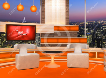 Talk Show Virtual Set Orange -- Camera 4 high resolution