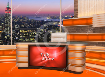 Talk Show Virtual Set Orange -- Camera 5 high resolution