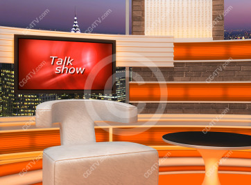 Talk Show Virtual Set Orange -- Camera 7 high resolution