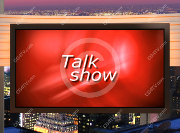 Talk Show Virtual Set Orange -- Camera 9 high resolution