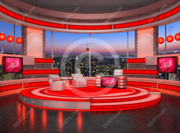 Talk Show Virtual Set Red -- Camera 1 high resolution