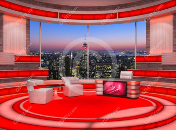 Talk Show Virtual Set Red -- Camera 2 high resolution
