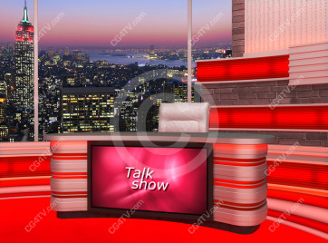 Talk Show Virtual Set Red -- Camera 5 high resolution