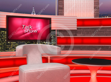 Talk Show Virtual Set Red -- Camera 7 high resolution