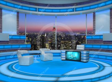 Talk Show Virtual Set Turquoise -- Camera 2 high resolution