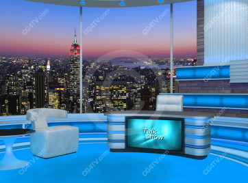 Talk Show Virtual Set Turquoise -- Camera 3 high resolution