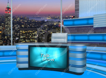 Talk Show Virtual Set Turquoise -- Camera 5 high resolution