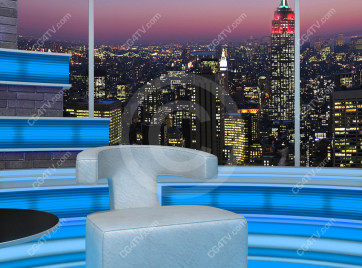 Talk Show Virtual Set Turquoise -- Camera 6 high resolution