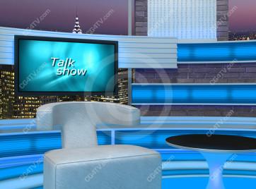 Talk Show Virtual Set Turquoise -- Camera 7 high resolution