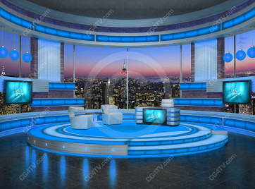 Talk Show Virtual Set Turquoise high resolution