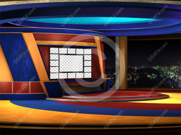 Multi Screen News Set -- Camera 1a