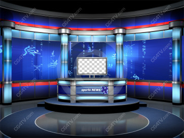 Sport News Studio Set Blue Camera 1 high resolution