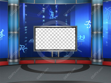 Sport News Studio Set Blue Camera 10 high resolution
