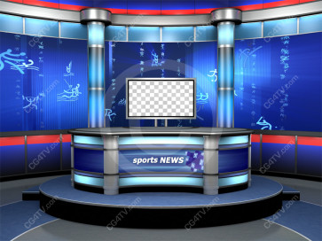 Sport News Studio Set Blue Camera 2 high resolution