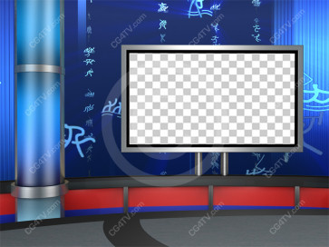 Sport News Studio Set Blue Camera 5 high resolution