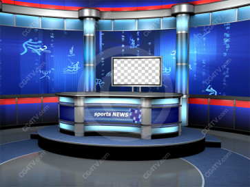 Sport News Studio Set Blue Camera 6 high resolution