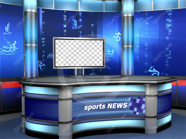 Sport News Studio Set Blue Camera 7 high resolution