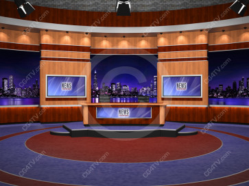 News Virtual Studio Set for two anchors -- Camera 1
