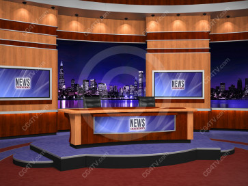 News Virtual Studio Set for two anchors -- Camera 3