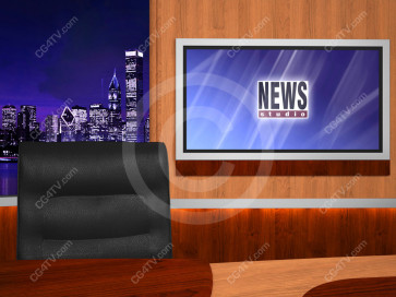 News Virtual Studio Set for two anchors -- Camera 4
