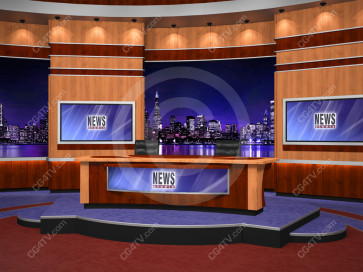 News Virtual Studio Set for two anchors -- Camera 6