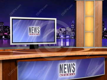 Virtual Newsroom for Two Hosts -- Camera 7 high resolution