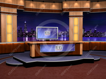 Virtual Newsroom for Two Hosts high resolution