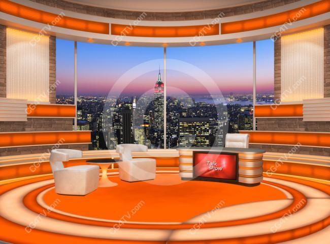 Talk Show Virtual Set Orange Camera 2