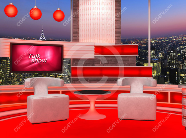 Talk Show Virtual Set Red -- Camera 4