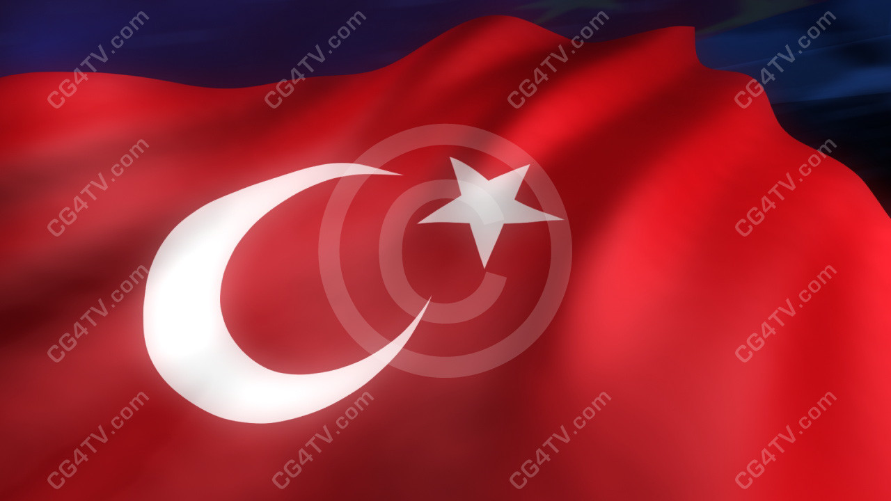 turkish flag animation virtual sets green screen and animated