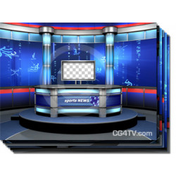 Sport News Studio Set Blue