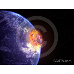 Asteroid Impacts Earth Image