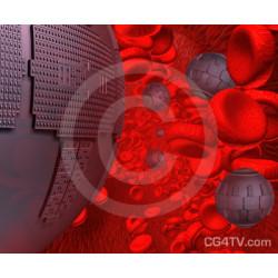 Respirocytes Flowing Through a Blood Vessel
