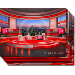 Talk Show Virtual Set Red