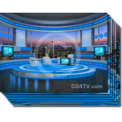 Talk Show Virtual Set Turquoise