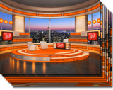 Talk Show Virtual Set Orange high resolution