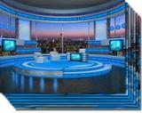 Talk Show Virtual Set Turquoise high resolution