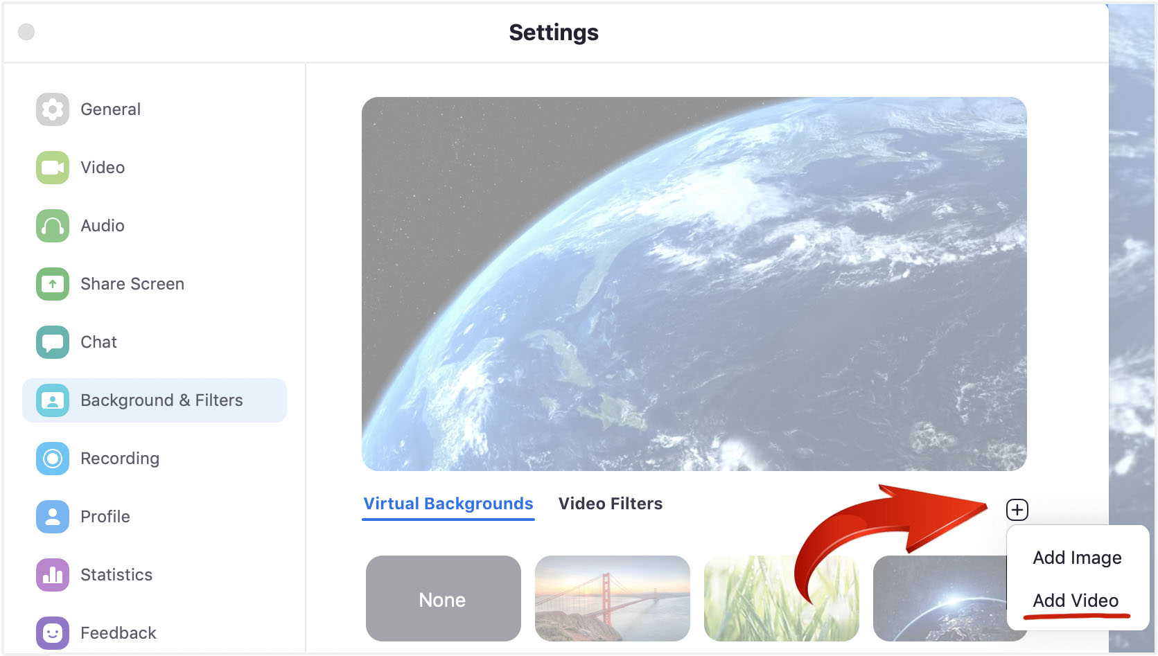 How to add custom animated video backgrounds into Zoom