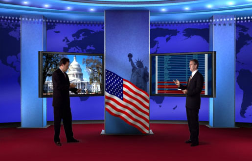 US Political virtual set and green screen background designed for election debates